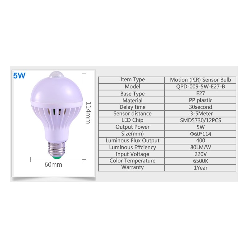 LED E27 5W 7W 9W Bulb Light PIR Infrared With Motion Sensor