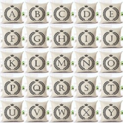 Printed Alphabet Letters Pillowcase Cushion Cover Cotton 45 * 45cm