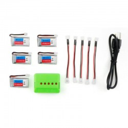 5X Eachine E011 3.7V 260MAH 30C Battery Charger Set RC Quadcopter Spare Part