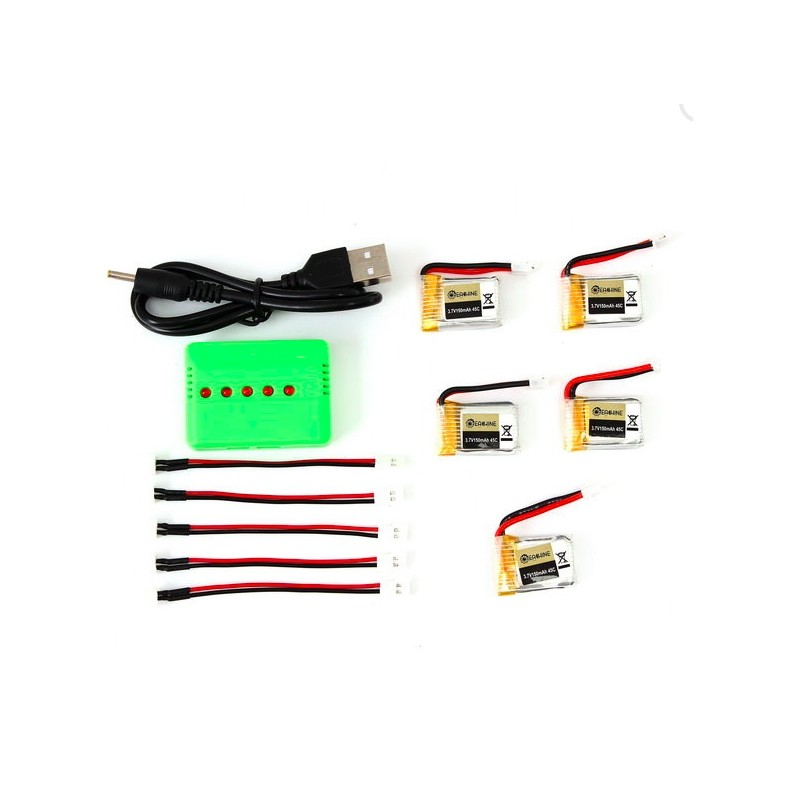 Eachine E010-0006 RC Quadcopter 3.7V 150MAH 45C Upgrade Battery Charger Set 5pcs