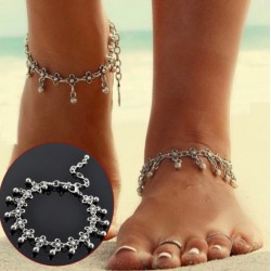 Vintage Antique Silver Flower Beads Anklet Bracelet
