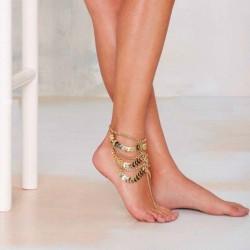 Chaîne de pompons multicouche - bracelet de cheville or