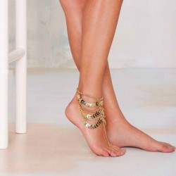 Punk Gold Multilayer Tassels Chain Anklet Bracelet