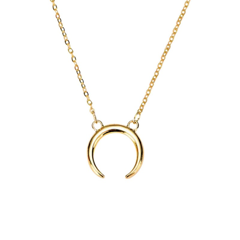Gold Silver Half Moon Pendant Women's Necklace