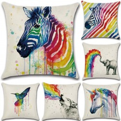 Colorful Animals Pillowcase Cushion Cover Cotton 45 * 45cm