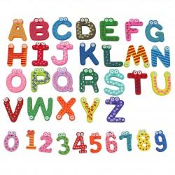 Letras y Numeros Coloreados Magnéticos de Madera para Nevera 36 piezas