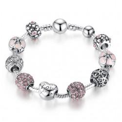 BAMOER Antique Silver Charm Bracelet amp Bangle con Amor y de Cristal de Flores de Las Mujeres de