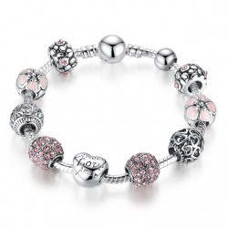 BAMOER Antique Silver Charm Bracelet amp Bracelet avec Amour et Fleur Boule De Cristal Femmes De M