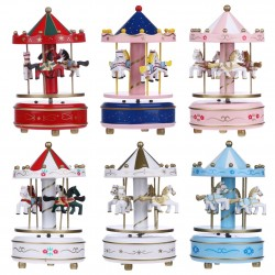Christmas Decorations Wooden Carousel Merry-Go-Round Music Box Toy Kids Children Girls Birthday Gift