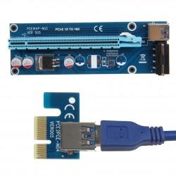 PCIe PCI-E PCI Express Riser Karta 1x do 16x USB 30 Kabel Danych SATA do 4Pin IDE Molex Zasilanie