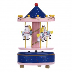 Christmas Decorations Wooden Carousel Merry-Go-Round Music Box Kids Toy