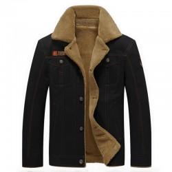 Giacca militare con collo di pelliccia - cotone e pile - calda e spessa