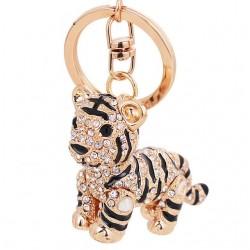 3D Crystal Animal Siberian Tiger Keychain Women Bag Accessories Creative Design Cartoon Tiger Pendan
