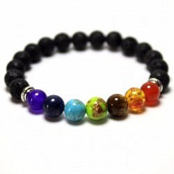 Lava rock beaded stretch energy bracelet unisex