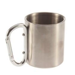 Tazza da Campeggio in Acciaio Inox 180ml Carabiner in Alluminio.