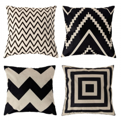 Vintage geometric pattern pillowcase - cushion cover - cotton 45 * 45cm