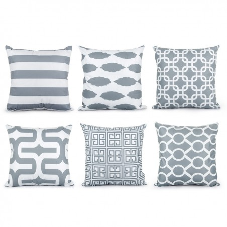Grey Geometric Pillowcase Cushion Cover Cotton 45 * 45cm
