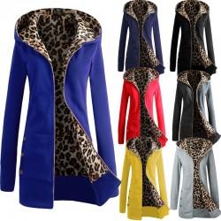 Women's hooded jacket - fleece coat with leopard print