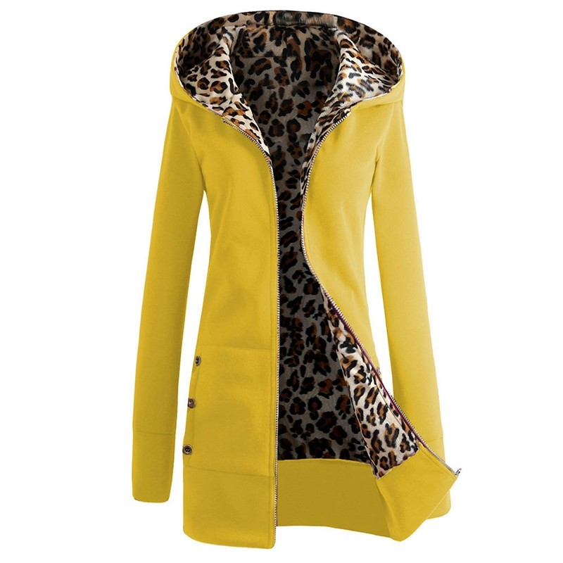 Women's Hooded Leopard Print Fleece Jacket Coat