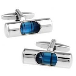Manschettenknöpfe im französischen Stil - blaue Wasserwaage