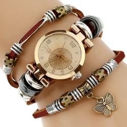 Echtes Leder Dreifach Armband Schmetterling Charm Damenuhr