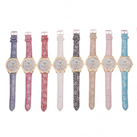 Elegant Diamond Owl Leather Women's Watch