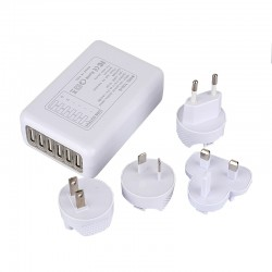Multifunctionele 6 USB Poort Oplader Reislader Incl. EU - VS - UK - AU Stekker
