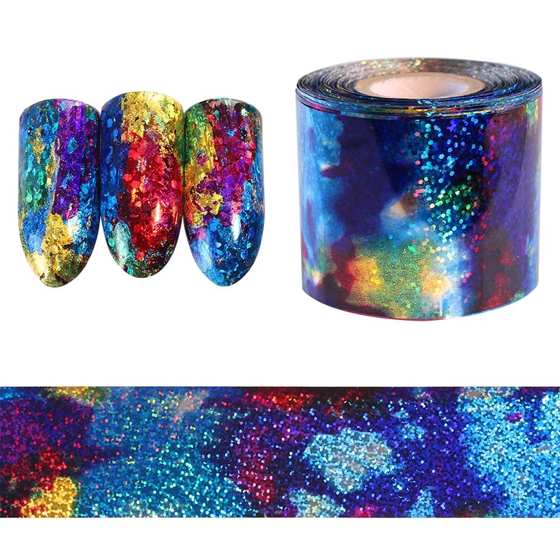 Gradient Starry Sky Blue Holographic Paper Foil Nail Art Sticker 1m