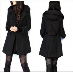 Woolen Slim Kapuzenjacke Mantel