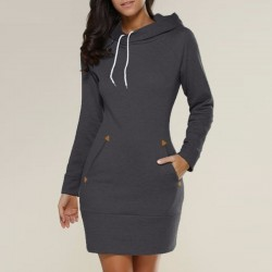 Casual Straight Hooded Mini Dress Sweater
