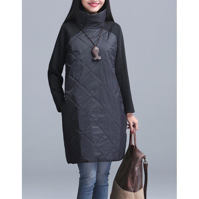 Turtleneck Loose Patchwork Tunic Winter Dress