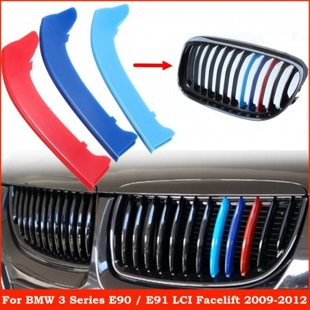 BMW 3 series E90 E91 grille stripe cover set 3 pcs