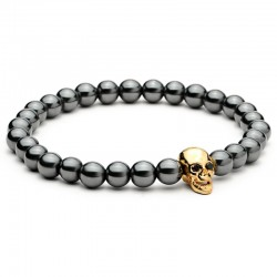 Zwart Hematiet Steen Kralen Schedel Charme Armband