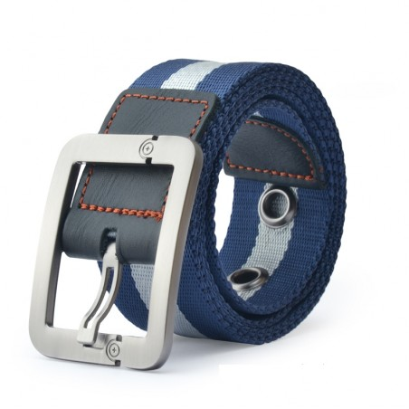 Knitted canvas belt with metal pin buckle