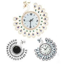 Antyczny Styl Diamentowy Paw Duży Zegar Ścienny