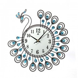 Antique Style Diamond Peacock Large Wall Clock