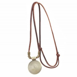 Leather rope vintage necklace & round pendant