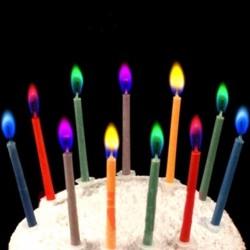 Kolorowy płomień - świeczki na urodzinowy tort 6 sztuk