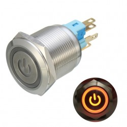 6 Pin 22mm 12V Led metalen drukknop vergrendelschakelaar