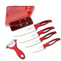 Ceramic kitchen knives set with red handle incl. holder