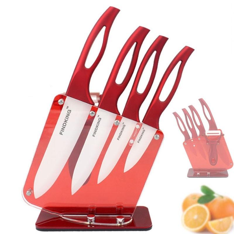 Zirconia Red Handle Ceramic Kitchen Knifes With Holder Set