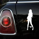 Car Motorcycle Sexy Woman In Bikini Sticker Black / Silver