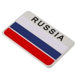 3D Rosyjska Flaga Samochodowa Aluminiowa Naklejka
