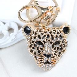 Luipaardkop hanger sleutelhanger met kristallen