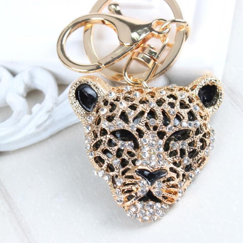 Leopard Head Pendant Crystal Keychain Keyring