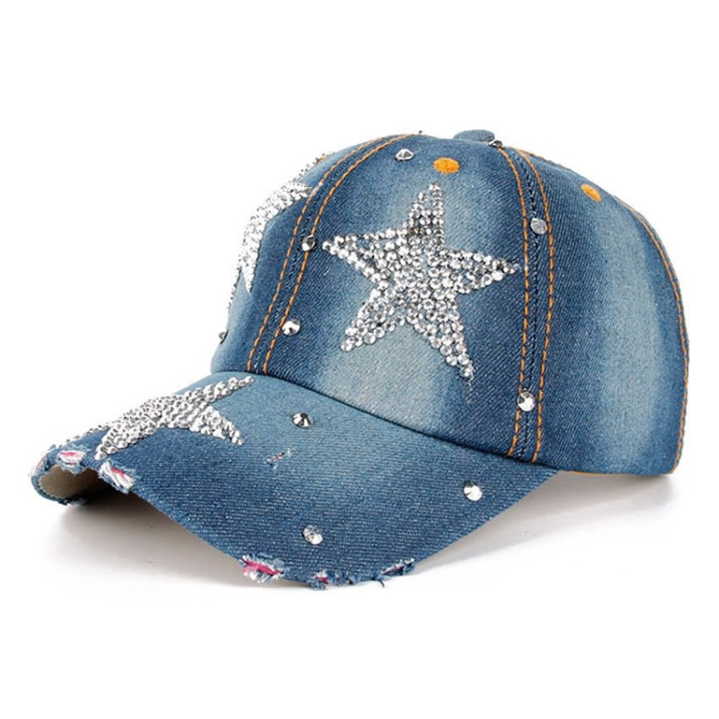 Fashion Rhinestones Star Jean Cotton Baseball Cap
