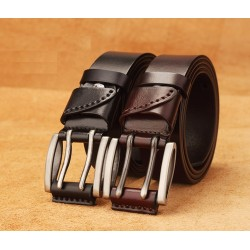 Double Pin Buckle Genuine Leather Belt
