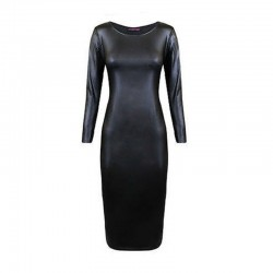 Sztuczna Skóra Długi Rękaw Midi Sukienka