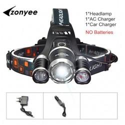 Linterna frontal - linterna con zoom - linterna - 3 XML-T6 - lámpara LED