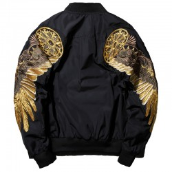 Black bomber jacket with embroidered golden wings